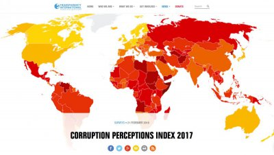 Źródło: Transparency International, Corruption Perceptions Index 2017, transparency.org